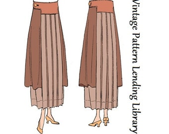 1918 Ladies Skirt With Side Drapes - Reproduction Sewing Pattern #E8059