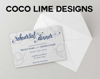 Wedding Rehersal Dinner Invites, simple, elegant, digital download or printed