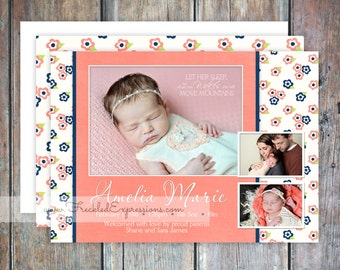 Baby Girl Birth Announcement-Coral Mountains