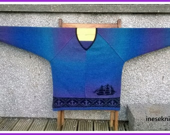 20% off.Knitted jumper,over-size jumper,real wool (kauni and midara yarn),Hand made Jumper - Sweater