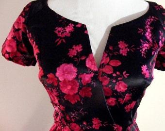 True Vintage 1950s Dior Culture in Red Fuchsia velvet in Floral Silk Dress - Nipped Waist  Boned Designer Christian Dior Red on Black