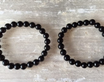 2 Shungite Crystal 8mm Bead Bracelets Purification Energy Balance Harmony