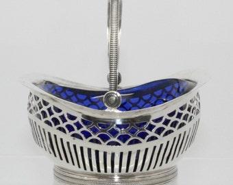 Antique Sterling Silver Condiment Basket with Cobalt Glass Liner