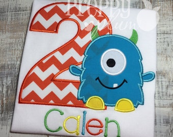 One Eyed Monster Themed Birthday Shirt - CUTE!