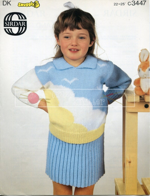 """Girl's Motif Sweaters and Skirt 22-25"""" DK Sirdar 3447 Vintage Knitting Pattern PDF instant download"""