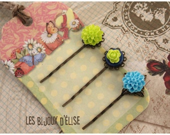 3 pcs Antique Bronze Hair Pins with Lime and Turquoise Flower Cabochon - Bridesmaid Gift (HP11)