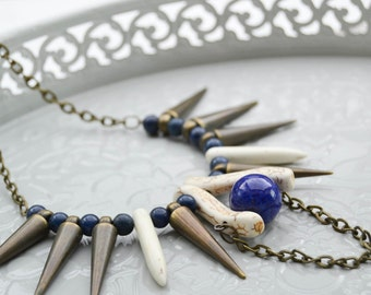 Spikes necklace, blue agate and white turquoise