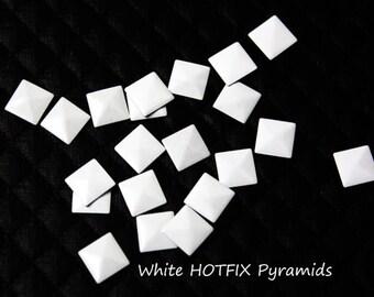 Iron On White Pyramids Studs, White Rivet Studs, Hot Fix White Studs  100 pcs