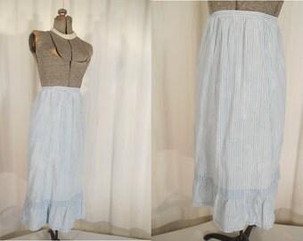 Vintage 1930s Skirt / 30s Slip / 1930s Petticoat / Blue White Striped Petticoat Skirt Large
