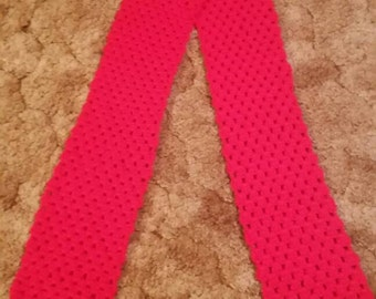Hot red crocheted scarf