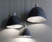 Lampe shade Size L Suspension felted wool Dark gray