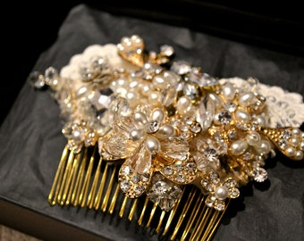 Swarovski crystal Rose Gold Pearl Ivory Lace Classic Vintage Gatsby Bridal Hair Comb Piece Slide fascinator