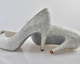 Swarovski Silver Crystal Glitter Bridal Wedding Mid Heel Peeptoe platform Ivory Satin Pump court