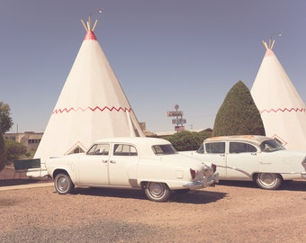 Route 66 photography, wigwam motel, arizona photography, retro art, vintage cars, teepee, route 66 decor, large wall art, classic car photo