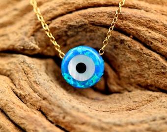 Evil eye necklace - talisman necklace - opal evil eye - nazar - protection - amulet necklace