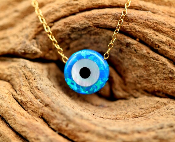 Evil eye necklace - talisman necklace - opal evil eye - nazar - protection - amulet necklace