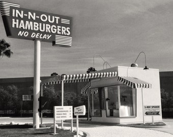 In-N-Out Burger, Vintage Burger Stand Photo, Black and White California Photography, Home Decor, Black & White Print - Instant Download