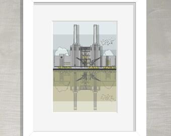 London Architectural Print - Battersea Power Station