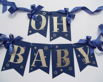 Navy and Gold Baby Shower Banner | Oh Baby Navy and Gold Stars | Twinkle Twinkle Little Star