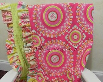 Baby Blanket with Ruffle - Kumari Gardens with Cactus Green Minky Dot