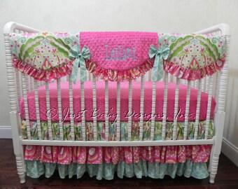 Custom Crib Bedding Set Leilani - Baby Girl Bedding, Kumari Gardens Bumperless Crib Bedding, Scalloped Crib Rail Cover, Tiered Ruffled Skirt