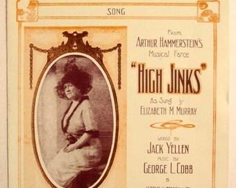 "Antique 1913 Sheet Music ""All Aboard for Dixieland"" from Arthur Hammerstein's Musical ""High Jinks"""