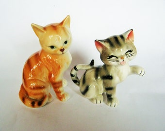 Vintage Tiger stripe Tabby Ginger Orange Cat Japan Kitten Figurine Porcelain Playful Figure Kitty Cat Japan ? Lefton Napco?