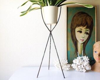 Vintage tripod planter stand retro metal bullet plant holder mid century modern decor
