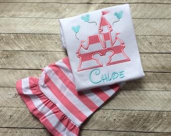 Castle ruffle Pant set-girls ruffle short set-girl short set-ruffle short-princess castle