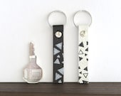 Leather Keychain, Small Leather Key Ring, Geometric Key Holder, Gift for Men, Gift for Coworker
