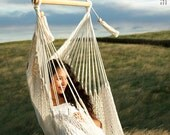 Hanging Chair | Extra Extension (6.5 ft) and wide | Cloud-like Comfort | Washable | Ecru-Cream Color