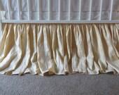Light Tan Gold, Champagne Gold LINEN Crib Skirt, Linen Dust Ruffled - Light Gold Farmhouse Nursery