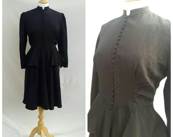 1930s Dress, Black , Formal, Dinner Dance, Peplum.UK size 12, US size 10.