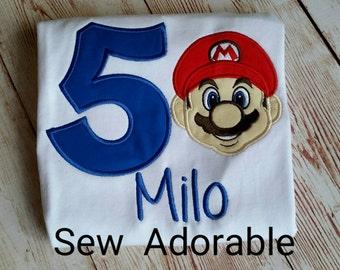 Mario Birthday Shirt, Mario birthday,