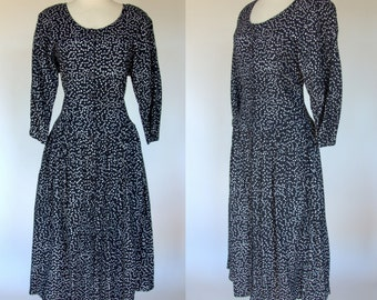 Black polka dot dress, long sleeve, fit and flare, scoop neck rayon, 1990s dress, Large, Brass Plum, Nordstrom