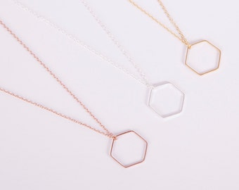 Gold Plated Necklace Disc Gold Hexagon Coin Golden Necklace Honeycomb Silver Gold Or Rosegold Choose your Colour