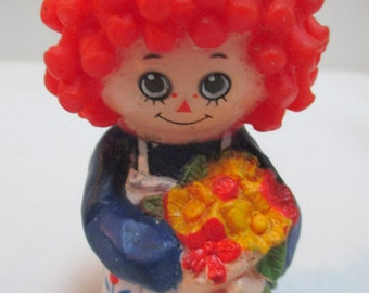 Rubber Raggedy Ann Finger Puppet - Vintage Marked Item by Bobb's Merrill Co.  1977