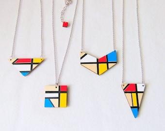Mondrian Inspired Geometric Necklace, Wood  Necklace, Geometric Jewelry