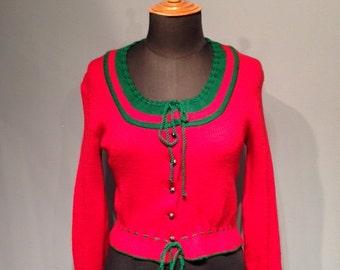 Red Austrian Cardigan Christmas Cardigan