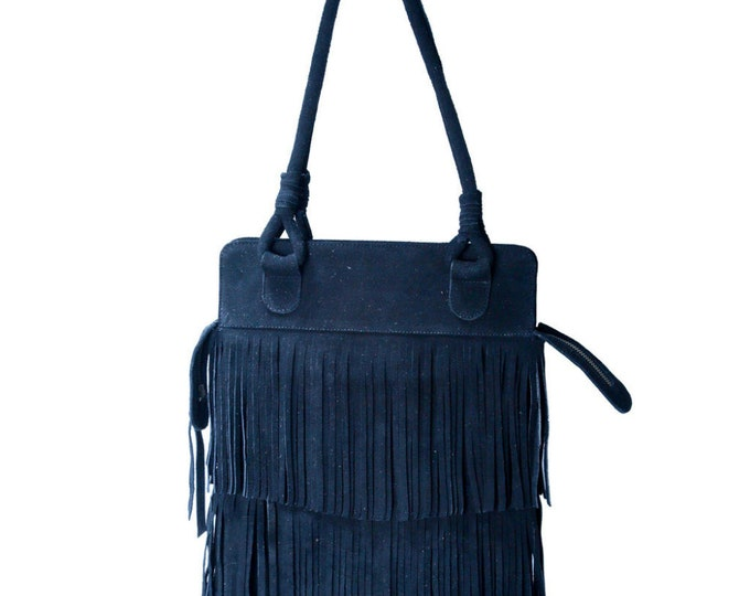 PRICE REDUCED!! Texas Fringe Black Suede Leather Bag / Boho Chic