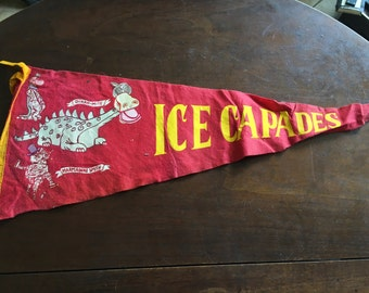 Vintage 1960s Ice Capades Pennant with Dragons