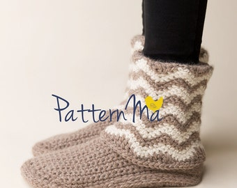 Crochet Slipper Pattern Women size 5 - 12 Chevron