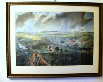 Beautiful Framed Lithograph Homestead in Mother Natures Backyard, Awesome Lithograqph