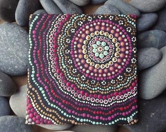 "Boho Sunset Design, Australian Aboriginal Dot Painting, Biripi Artist Raechel Saunders, 4"" x 4"" canvas board, Acrylic Paint, boho art"