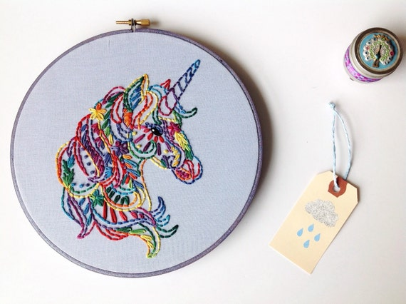 Tie dye unicorn boho hoop art custom by cloudydayhandmade