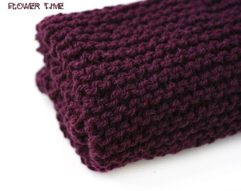 Burgundy red wine woolen knit infinity scarf, soft snood, cirle scarf, cowl