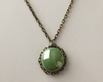 Green grass glass bronze necklace