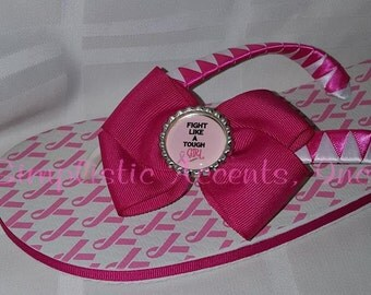"""White """"Fight Like A TOUGH Girl"""" Breast Cancer Boutique Flip Flops"""