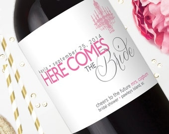 Bridal Shower Wine Labels - Champagne Label Personalized Wedding Gift - Bride to Be - Here Comes the Bride - Bridal Shower Favors  Stickers