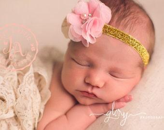 Pink baby headband, Gold Headband, baby headband, pink flower headband, pink headband, baby girl headband, infant headband, child headband
